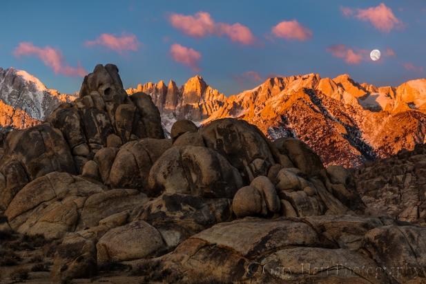 Gary Hart Photography: Moonset, Mt. Whitney and the Alabama Hills, California