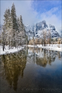 Gary Hart Photography: Yosemite Falls Reflection, Swinging Bridge, Yosemite