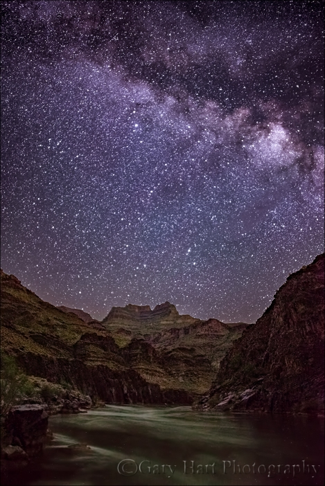 Gary Hart Photography: Starry Night, Colorado River and Evans Butte, Grand Canyon