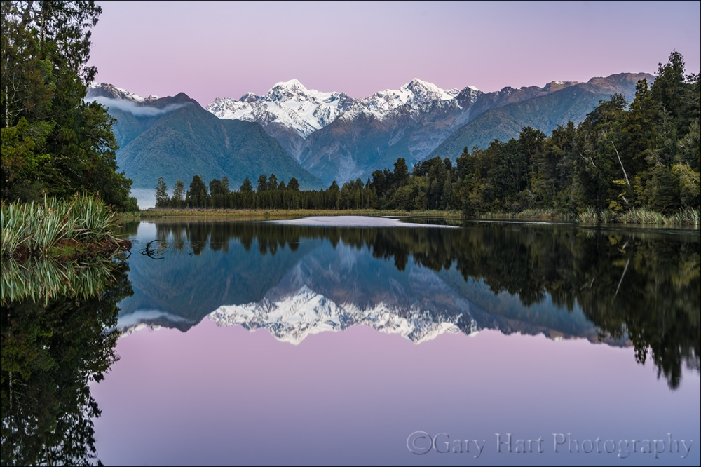 Gary Hart Photography: Twilight Reflection, Mount Tasman and Mount Cook, Lake Matheson, New Zealand