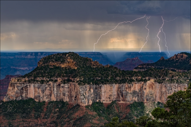 Gary Hart Photography: Twin Forked Lightning, North Rim, Grand Canyon