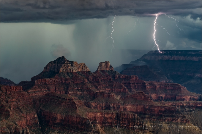 Gary Hart Photography: Direct Hit, South Rim Lightning Strike, Grand Canyon Lodge (North Rim)