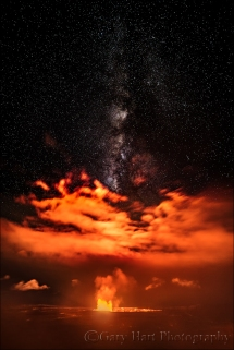 Night Fire, Milky Way Above Kilauea Caldera, Hawaii