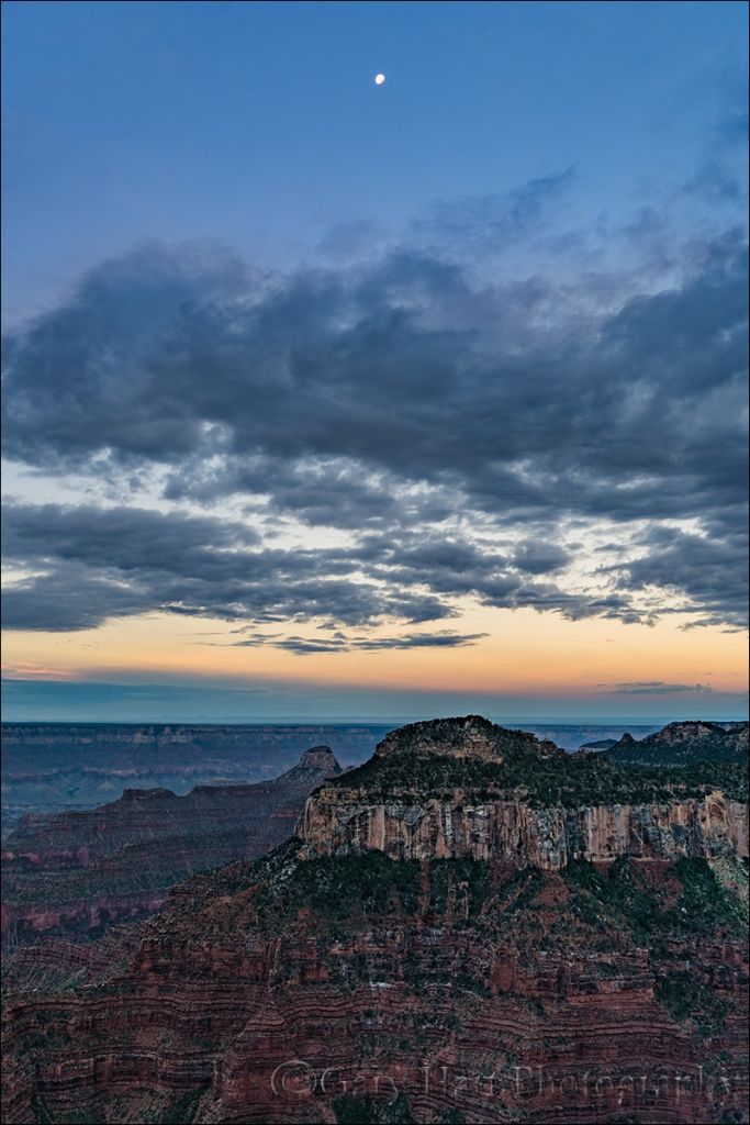 Gary Hart Photography: Setting Moon, Bright Angel Point, Grand Canyon