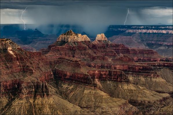 Gary Hart Photography: Lightning Bookends, Grand Canyon Lodge, Grand Canyon North Rim