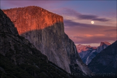 Sunset Moonrise, Yosemite Valley, Yosemite