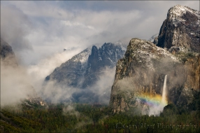 Gary Hart Photography: Rainbow and Snowfall, Bridalveil Fall, Yosemite