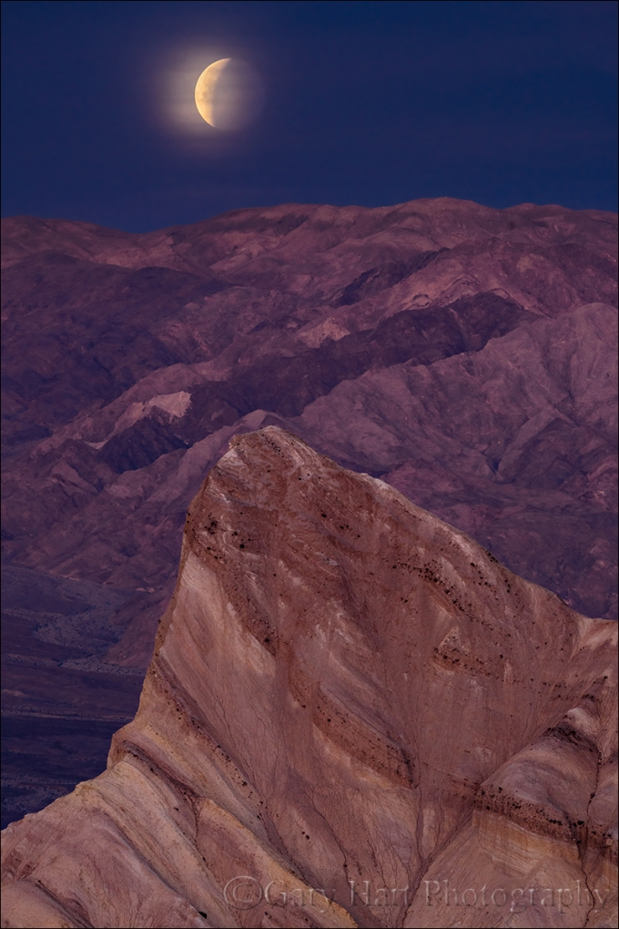 Gary Hart Photography: Eclipsed Moonset, Zabriskie Point, Death Valley