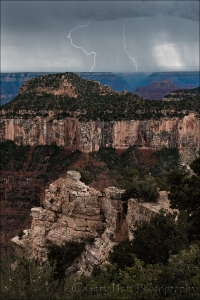 Gary Hart Photography: Triple Forked Lightning, Grand Canyon North Rim