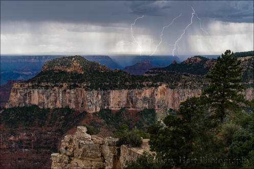 Gary Hart Photography: Double Strike, Grand Canyon North Rim Lightning