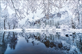 Gary Hart Photography: Winter Reflection, Bridalveil Fall and the Merced River, Yosemite