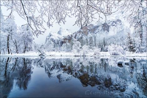 Gary Hart Photography: Winter Reflection, Bridalveil Fall and the Merced River, Yosemite