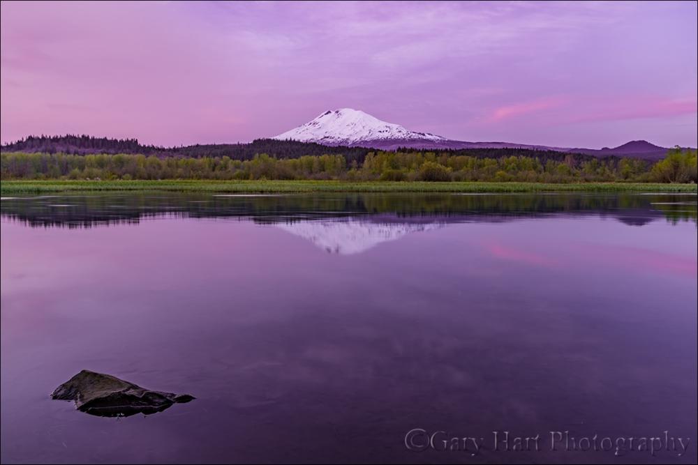 Gary Hart Photography: Sunset Calm, Trout Lake and Mt. Adams, Washington