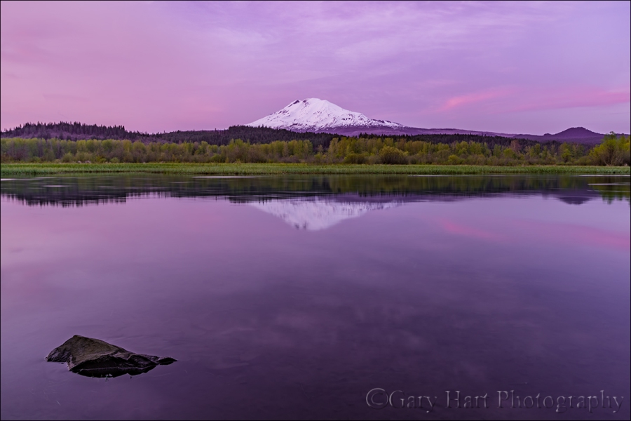 Gary Hart Photography: Sunset Calm, Trout Lake and Mt. Adams, Washington