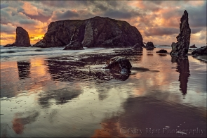Gary Hart Photography: Sunset Reflection, Bandon Beach, Oregon