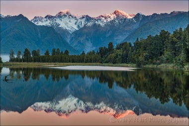 Gary Hart Photography: Sunset Reflection, Lake Matheson, New Zealand