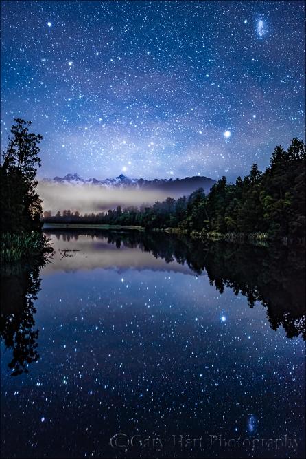 Gary Hart Photography: Night Sky Reflection, Lake Matheson, New Zealand