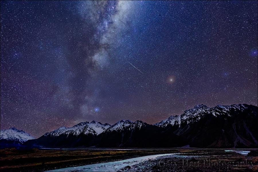 Gary Hart Photography: Milky Way and Hooker River, Aoraki National Park, New Zealand