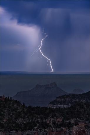 Gary Hart Photography: Twilight Lightning Strike, Grand Canyon