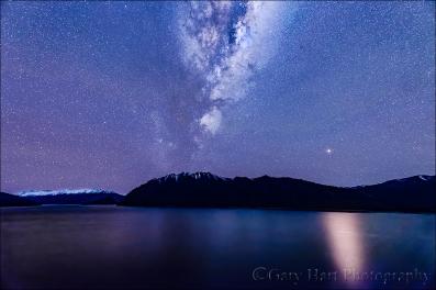 Gary Hart Photography: Mars Rising, Milky Way and Lake Hawea, New Zealand