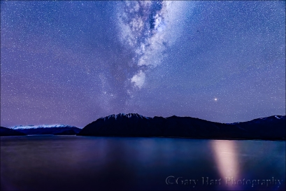 Gary Hart Photography: Mars Rising, Milky Way and Lake Hawea, New Zealand