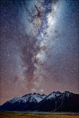 Gary Hart Photography: Milky Way, Nun's Veil and Tasman River, Mt. Cook / Aoraki National Park, New Zealand