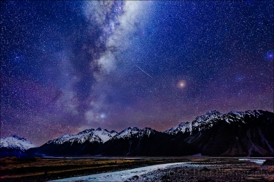 Gary Hart Photography: Milky Way and Hooker River, Aoraki / Mt. Cook National Park, New Zealand
