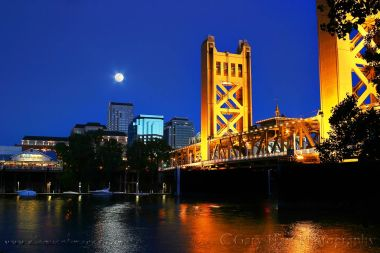 Gary Hart Photography: Moonrise, Tower Bridge, Sacramento
