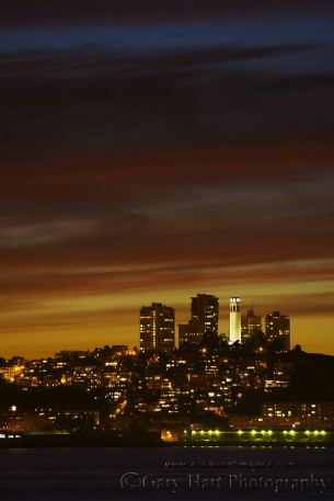 Gary Hart Photography: Nightfall, Coit Tower, San Francisco