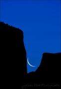 Gary Hart Photography: Yosemite Silhouette, Crescent Moon w/El Capitan and Half Dome