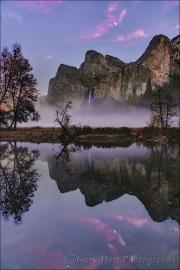 Gary Hart Photography: Sunset Moonrise Reflection, Bridalveil Fall, Valley View, Yosemite
