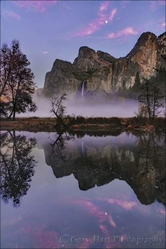 Gary Hart Photography: Sunset Moonrise Reflection, Bridalveil Fall, Valley View, Yosemite