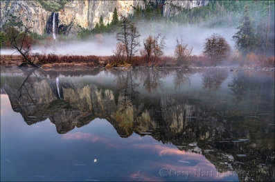 Gary Hart Photography: Moonrise Reflection, Bridalveil Fall, Valley View, Yosemite