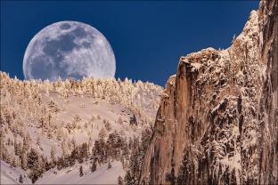 Gary Hart Photography: Winter Moonrise, Half Dome, Yosemite