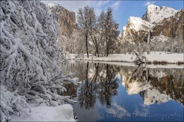Gary Hart Photography: Snow and Reflection, El Capitan and Bridalveil Fall, Yosemite