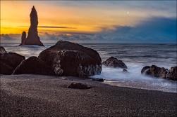 Gary Hart Photography: Sunrise Moon, Reynisfjara Black Sand Beach, Iceland