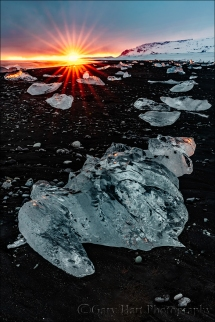 Gary Hart Photography: Sunset, Diamond Beach, Iceland