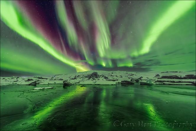 Gary Hart Photography: Aurora Streaks, Glacier Lagoon, Iceland