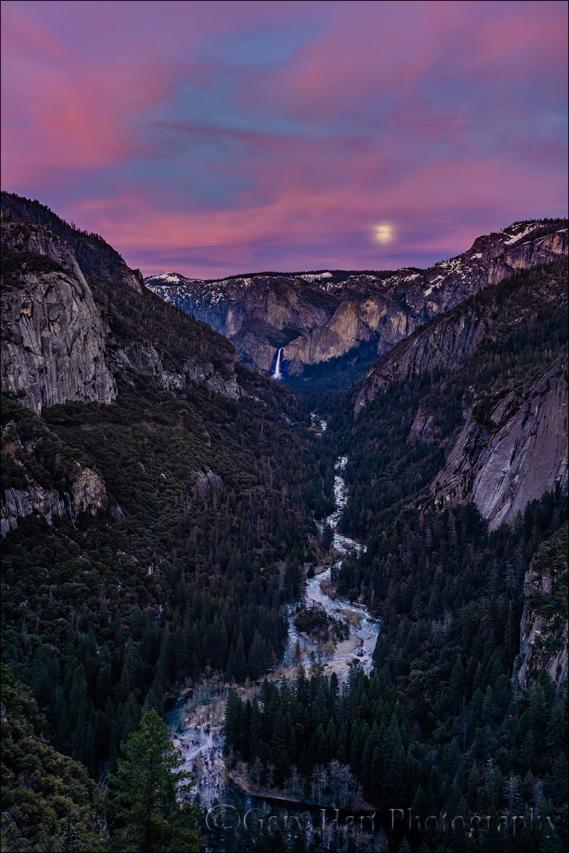 Moonrise, Merced River Canyon and Bridalveil Fall, Yosemite