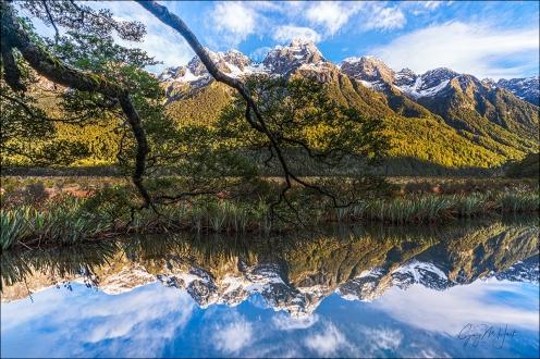 Gary Hart Photography: Reflection, Mirror Lakes, New Zealand