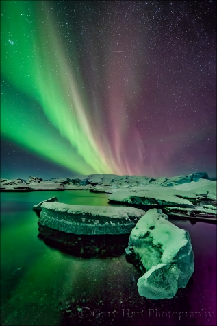 Gary Hart Photography: Aurora on Ice, Glacier Lagoon, Iceland