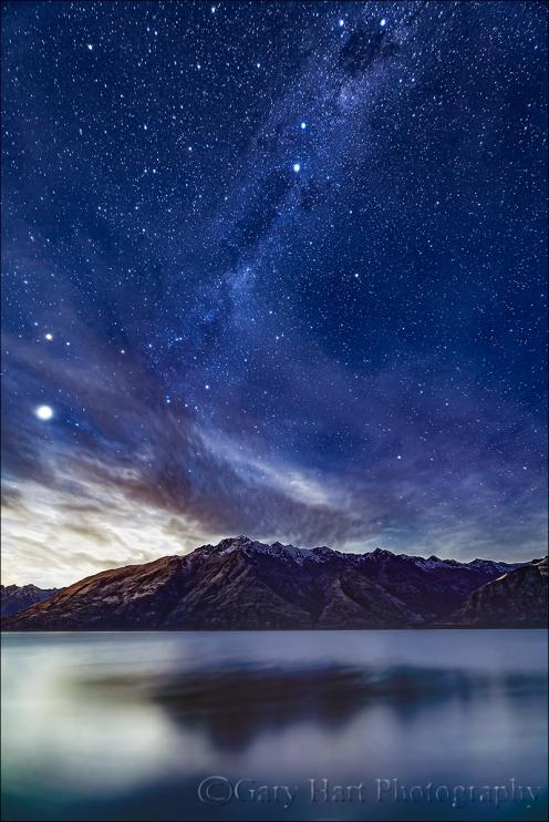 Gary Hart Photography: Moonlight and Milky Way, Lake Wakatipu, New Zealand