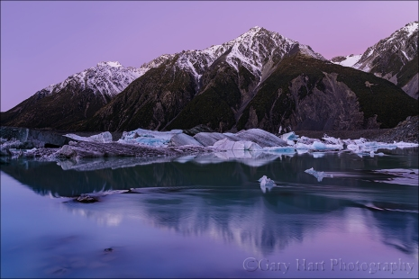 Gary Hart Photography: Twilight, Tasman Lake, New Zealand
