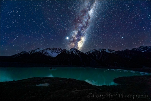 Gary Hart Photography: Milky Way and Jupiter, Tasman Lake, New Zealand