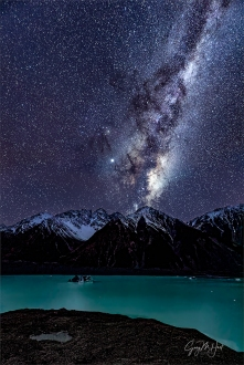Winter Night, Milky Way Above Tasman Lake, New Zealand