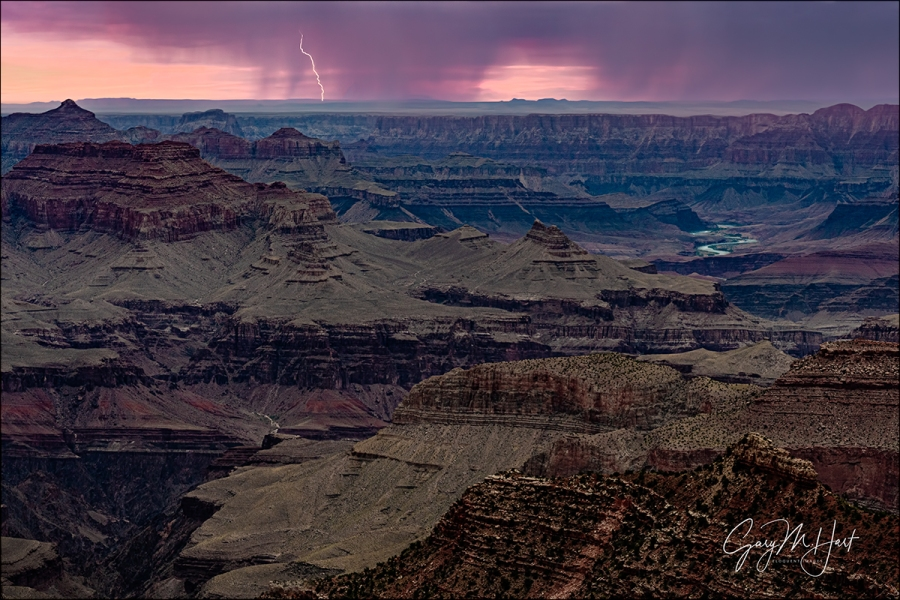 Gary Hart Photography: Bolt from the Pink, Grandview Point Lightning, Grand Canyon