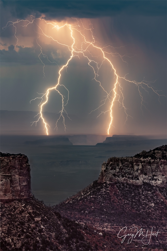 Gary Hart Photography: Forked Lightning, Point Imperial, Grand Canyon
