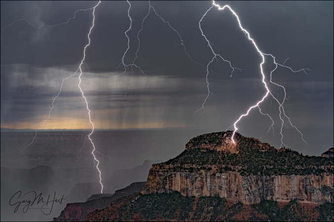 Gary Hart Photography: Lightning Explosion, Oza Butte, Grand Canyon North Rim