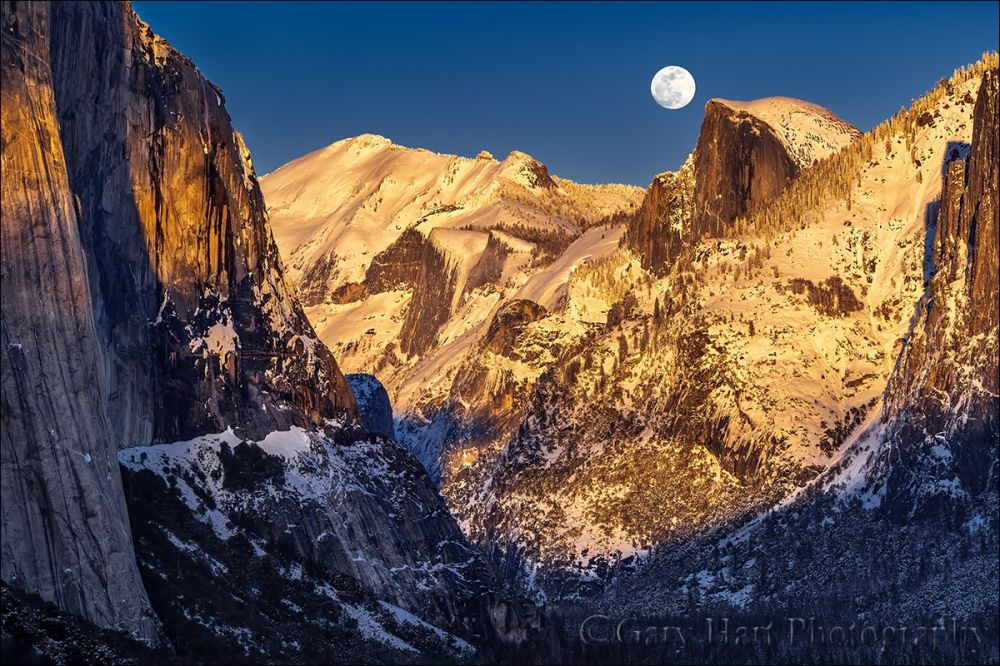 Gary Hart Photography: Winter Moonrise, Horsetail Fall and Half Dome, Yosemite