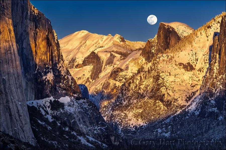 Gary Hart Photography: Winter Moonrise, Horsetail Fall and Half Dome, Yosemite